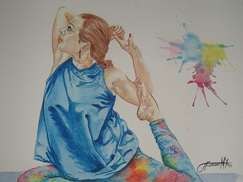 Work with Commission - traditional portrait yoga painting gouache